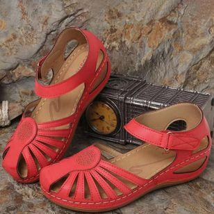 Women's Round Toe Wedge Heel Sandals_5