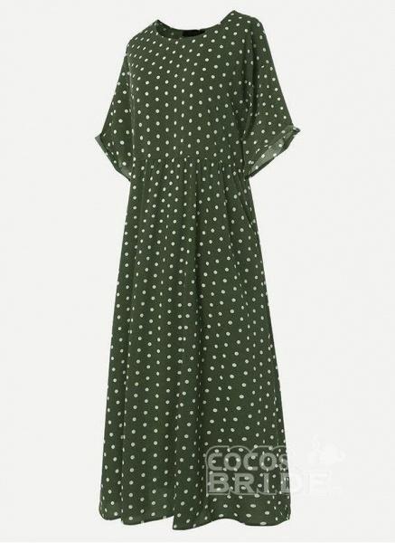 Yellow Plus Size Tunic Polka Dot Round Neckline Casual Midi Plus Dress_3