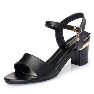 Women's Ankle Strap Peep Toe Low Heel Sandals_1