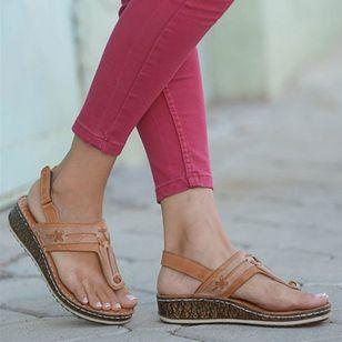 Women's Slingbacks Toe Ring Wedge Heel Sandals_4