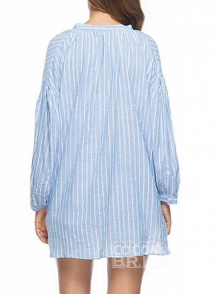 Blue Plus Size Tunic Stripe V-Neckline Casual Above Knee Plus Dress_4
