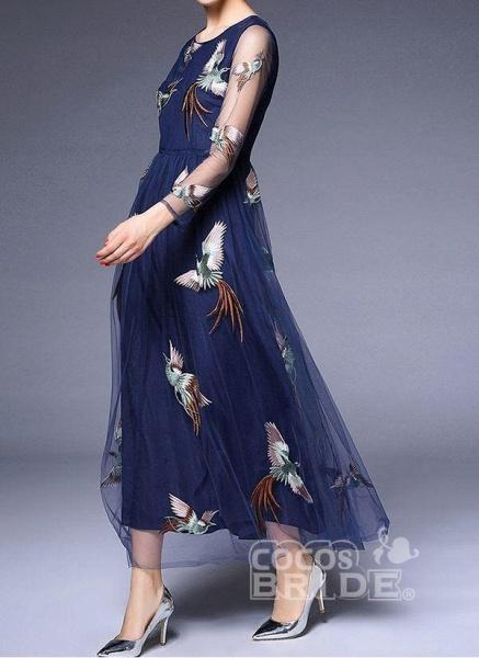 Dark Blue Plus Size Animal Round Neckline Casual Lace Maxi Plus Dress_3