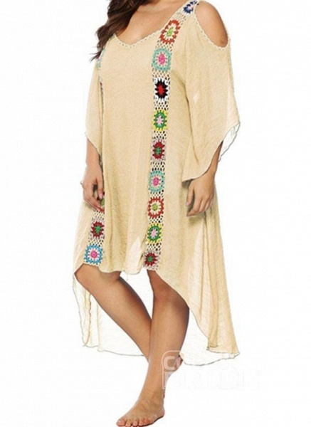 White Plus Size Tunic Floral V-Neckline Casual Hollow Out Plus Dress_7