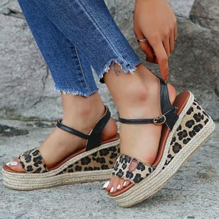 Women's Leopard Buckle Slingbacks Leatherette Wedge Heel Sandals Wedges_2