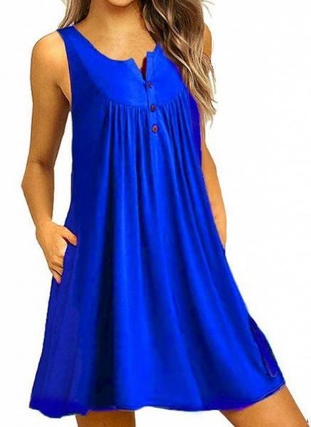 Royal Blue Plus Size Tunic Solid Round Neckline Casual Pockets Plus Dress_1