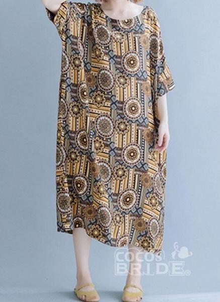 Khaki Plus Size Tunic Floral Round Neckline Casual Midi Plus Dress_2