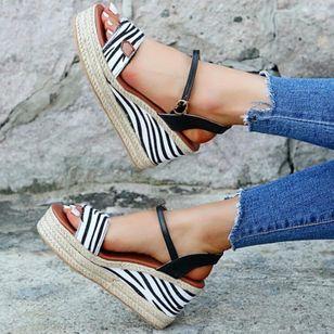 Women's Leopard Buckle Slingbacks Leatherette Wedge Heel Sandals Wedges_1