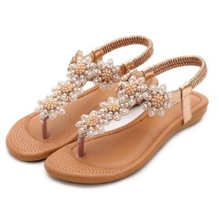 Women's Beading Slingbacks Cloth Flat Heel Sandals_2