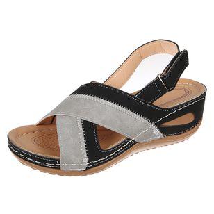 Women's Velcro Round Toe Nubuck Low Heel Sandals_1