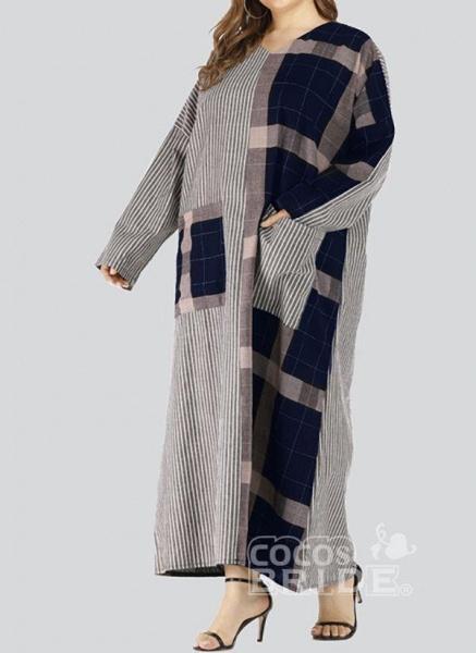 Black Plus Size Plaid V-Neckline Casual Pockets Maxi Plus Dress_2
