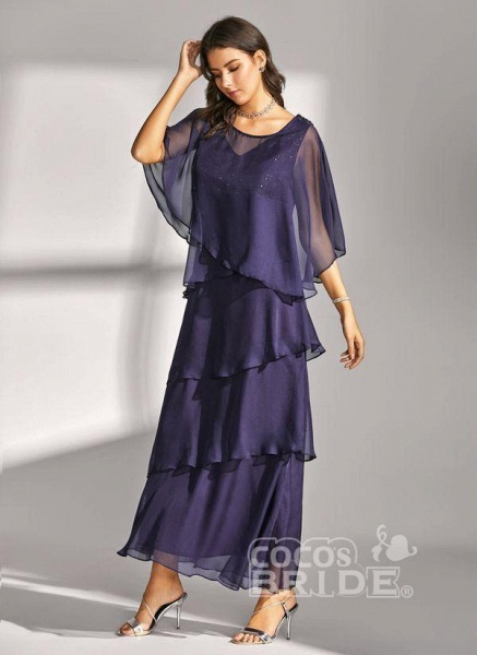 Dark Blue Elegant Solid Round Neckline Maxi X-line Dress_2