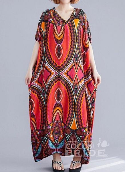 Red Plus Size Tunic Color Block V-Neckline Casual Maxi Plus Dress_6