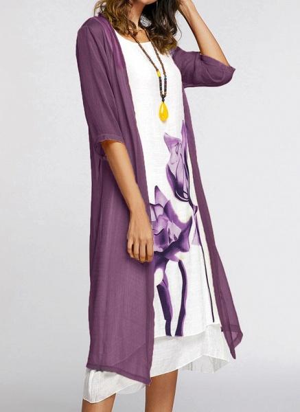 Floral Wrap Round Neckline Midi X-line Dress_11