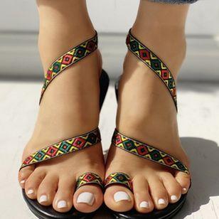 Women's Geometric Flats Toe Ring Flat Heel Sandals_2