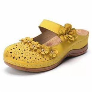 Women's Hollow-out Flower Slingbacks Flat Heel Sandals_5