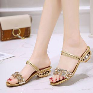 Women's Rhinestone Heels Chunky Heel Sandals_6