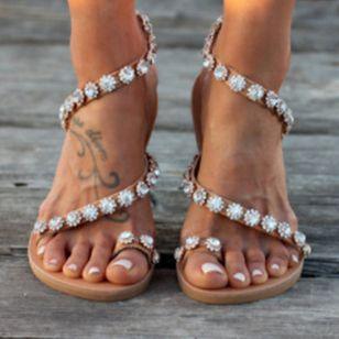 Women's Flower Flats Slingbacks Flat Heel Sandals_1