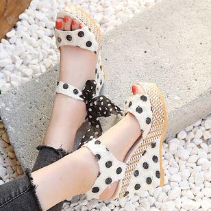 Women's Bowknot Heels Cloth Wedge Heel Sandals_3