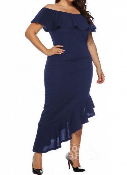 Black Plus Size Pencil Solid Off the Shoulder Elegant Ruffles Plus Dress_3