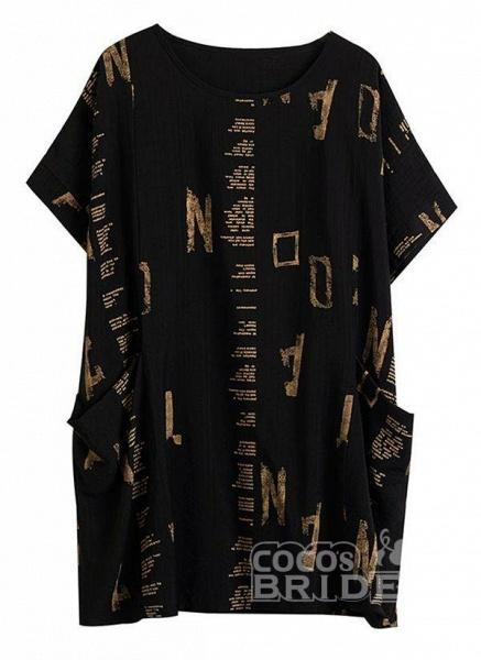 Black Plus Size Tunic Geometric Round Neckline Casual Pockets Plus Dress_4