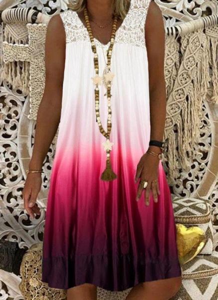 Burgundy Plus Size Tunic Color Block V-Neckline Casual Lace Plus Dress_1