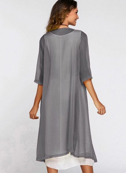 Floral Wrap Round Neckline Midi X-line Dress_15