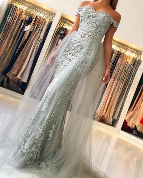 Modest Long Mermaid Off-the-shoulder Glitter Prom Dress_5