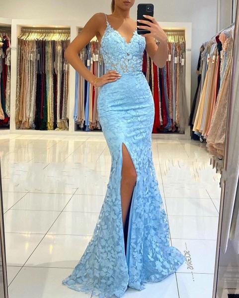 Elegant Long Mermaid V-neck Open Back Lace Prom Dress with slit_3