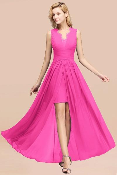 BM0835 Lace Chiffon Jewel Sleeveless Ruffles Short Bridesmaid Dress_9