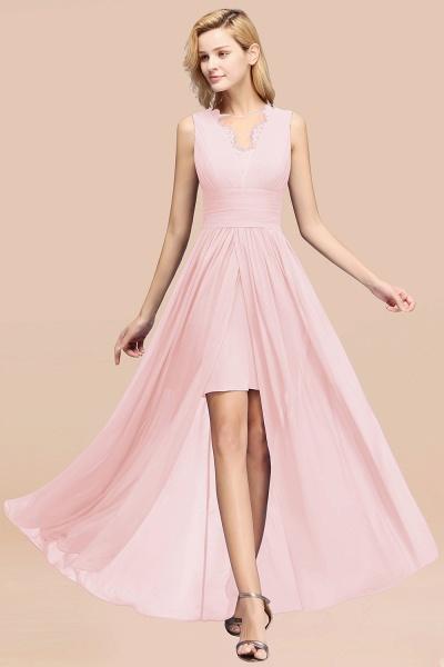 BM0835 Lace Chiffon Jewel Sleeveless Ruffles Short Bridesmaid Dress_3