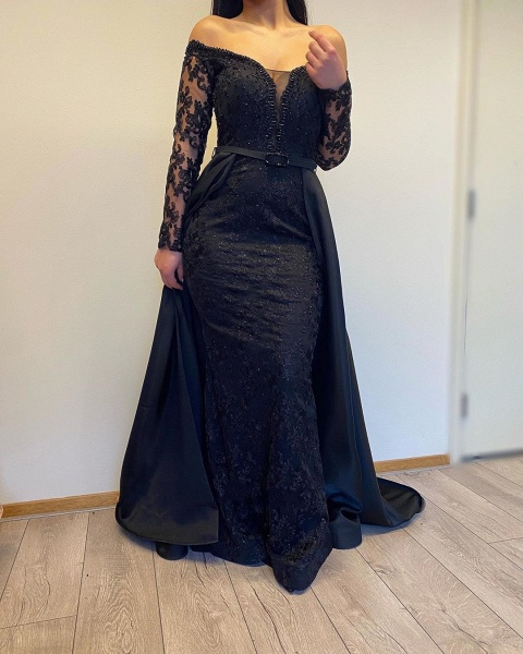Long A-line Off-the-shoulder Lace Detachable Prom Dress with Sleeves_3