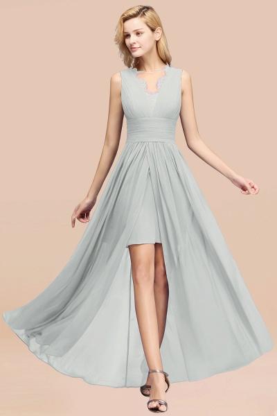BM0835 Lace Chiffon Jewel Sleeveless Ruffles Short Bridesmaid Dress_38