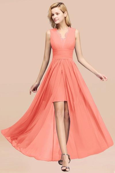 BM0835 Lace Chiffon Jewel Sleeveless Ruffles Short Bridesmaid Dress_45