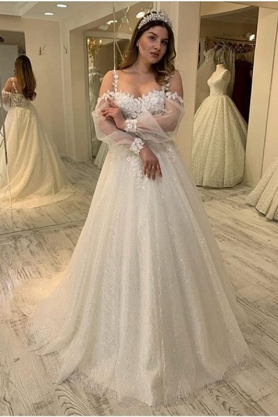 Long A-line Sweetheart Spaghetti Straps Gliiter Wedding Dress with Sleeves