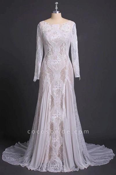 Elegant Long Sleeve Lace Sheath Wedding Dress_3