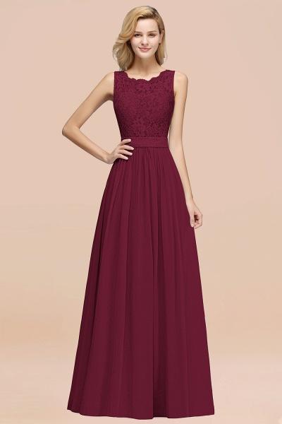 BM0834 Chiffon A-Line Lace Scalloped Sleeveless Long Ruffles Bridesmaid Dress_44