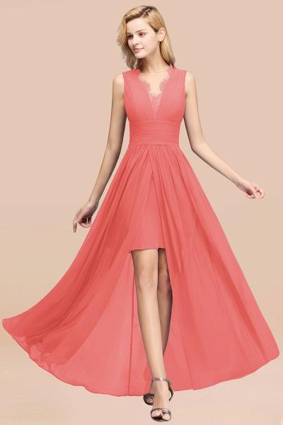 BM0835 Lace Chiffon Jewel Sleeveless Ruffles Short Bridesmaid Dress_7