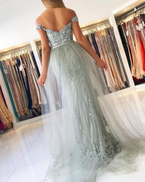 Modest Long Mermaid Off-the-shoulder Glitter Prom Dress_4
