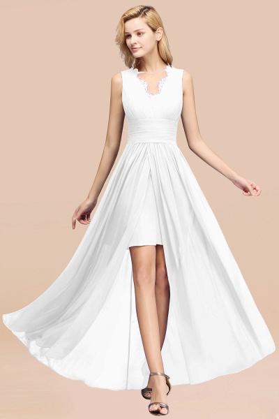 BM0835 Lace Chiffon Jewel Sleeveless Ruffles Short Bridesmaid Dress_1