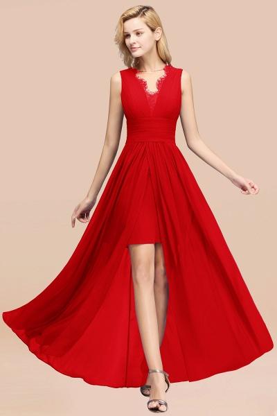 BM0835 Lace Chiffon Jewel Sleeveless Ruffles Short Bridesmaid Dress_8