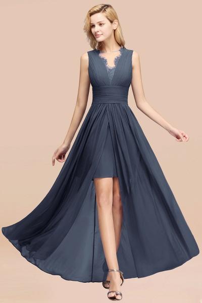 BM0835 Lace Chiffon Jewel Sleeveless Ruffles Short Bridesmaid Dress_39