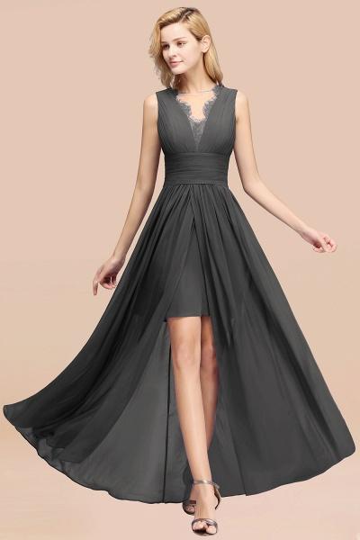 BM0835 Lace Chiffon Jewel Sleeveless Ruffles Short Bridesmaid Dress_46