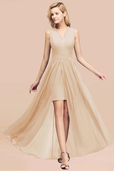 BM0835 Lace Chiffon Jewel Sleeveless Ruffles Short Bridesmaid Dress_14