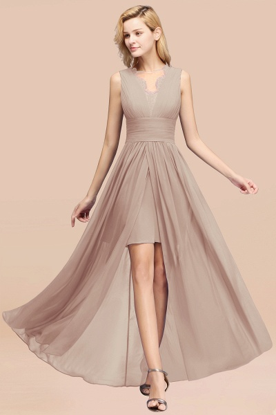 BM0835 Lace Chiffon Jewel Sleeveless Ruffles Short Bridesmaid Dress_16