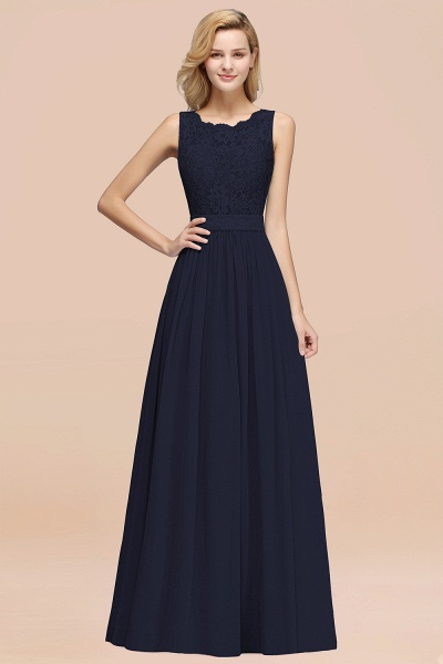 BM0834 Chiffon A-Line Lace Scalloped Sleeveless Long Ruffles Bridesmaid Dress_28