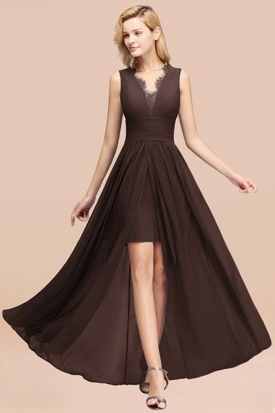 BM0835 Lace Chiffon Jewel Sleeveless Ruffles Short Bridesmaid Dress_11