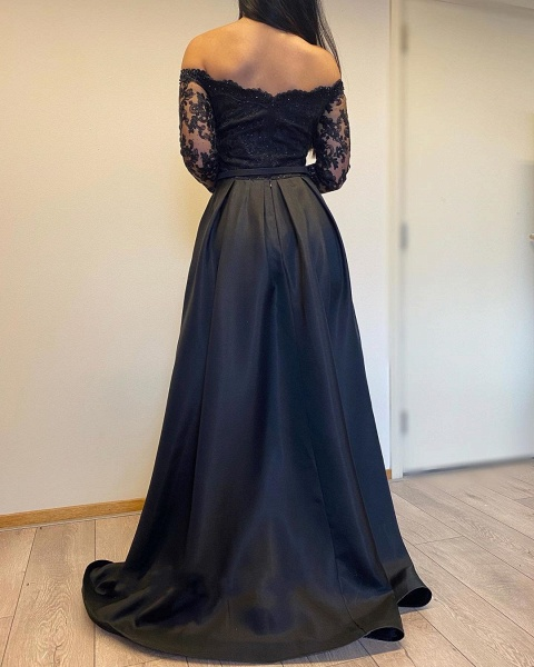 Long A-line Off-the-shoulder Lace Detachable Prom Dress with Sleeves_4