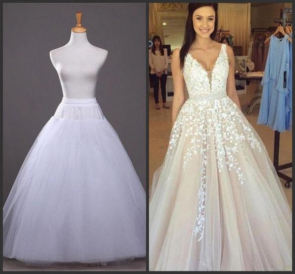 Elegant Appliques V-neck Tulle A-line Wedding Dress_5
