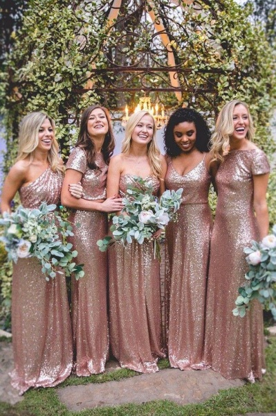 Sexy Sequin Bridesmaid Dresses | Rose Gold Long Wedding Guest Dresses_1