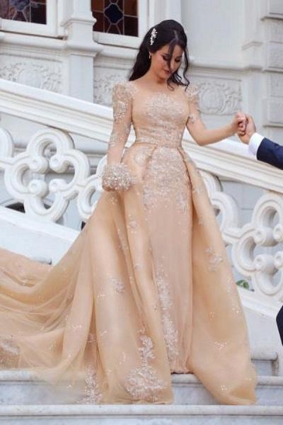 Gorgeous Long Sleeve Tulle Bateau Detachable Wedding Dress